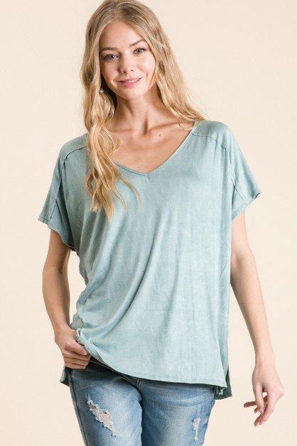 WASHED RAYON V-NECK DROP SHOULDER TO - orangeshine.com