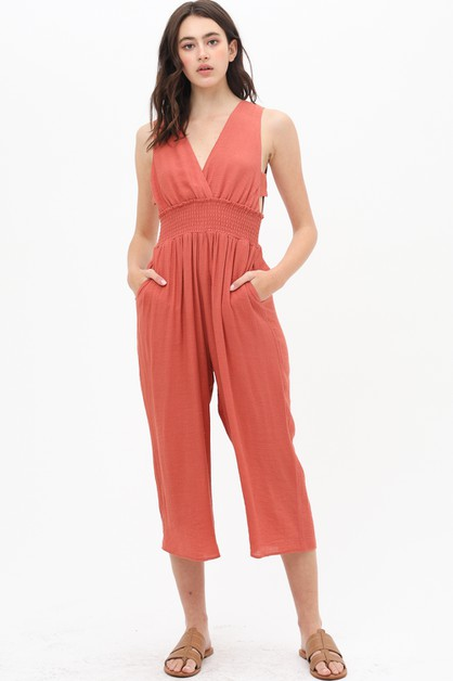 BACK SLIT FORM FITTED JUMPSUIT - orangeshine.com