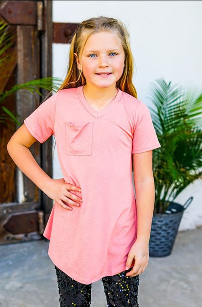 GIRLS PEACH POCKET TEE - orangeshine.com