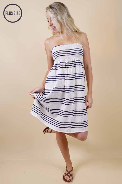 Plus Size Blue Striped Dress - orangeshine.com