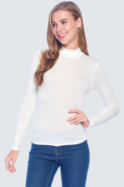 Mock Neck Top Long Sleeve - orangeshine.com
