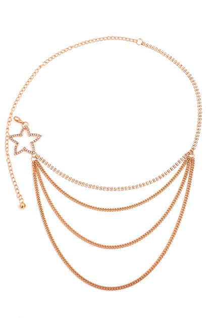 Layered Chain Star Fashion Belt - orangeshine.com
