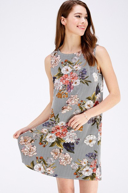 Floral and Stripe Print Dress - orangeshine.com