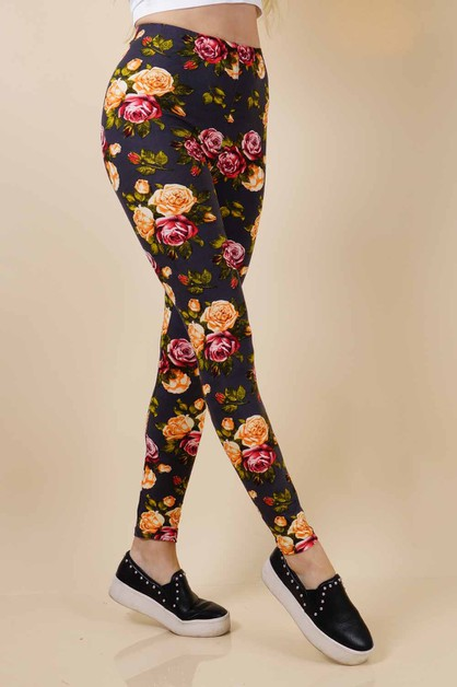 Soft Floral leggings - orangeshine.com