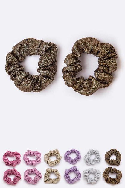 24 PC Metallic Hair Scrunchies Set - orangeshine.com