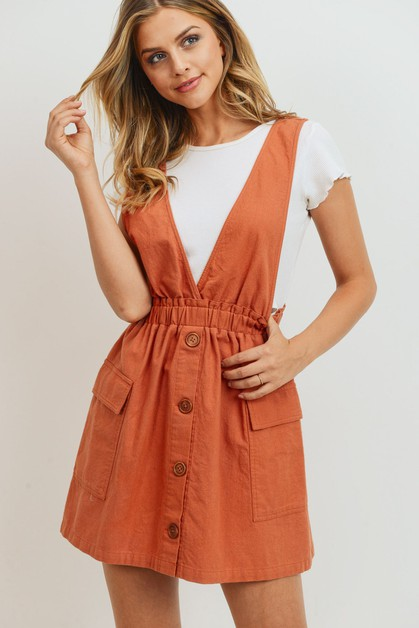V Neck Buttoned Sleeveless Dress - orangeshine.com