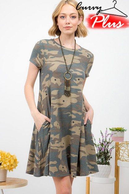CAMOUFLAGE PRINT SWING DRESS - orangeshine.com