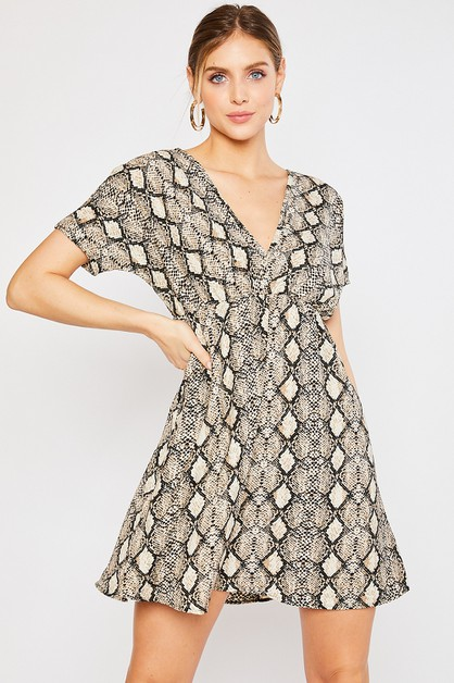 SNAKE PRINT DOLMAN SLEEVE DRESS - orangeshine.com