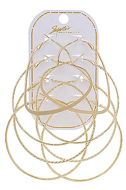 4-pair Hoop Earring Set - orangeshine.com