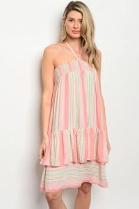 Halter neck tie and ruffle trim dres - orangeshine.com