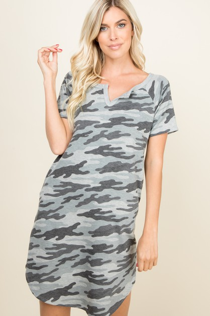 CAMO SHORT SLEEVE CURVED HEM DRESS - orangeshine.com