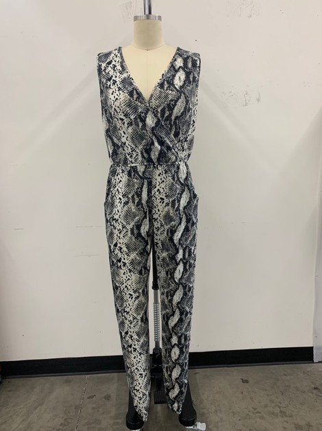 Snake Print Sleeveless Jumpsuit - orangeshine.com