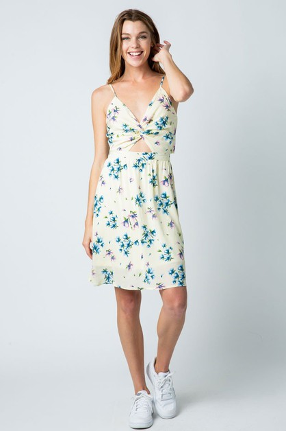 FLORAL PRINT OPEN BACK DRESS WTH CRO - orangeshine.com