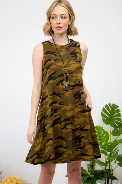CAMOUFLAGE PRINT SLEEVELESS DRESS - orangeshine.com