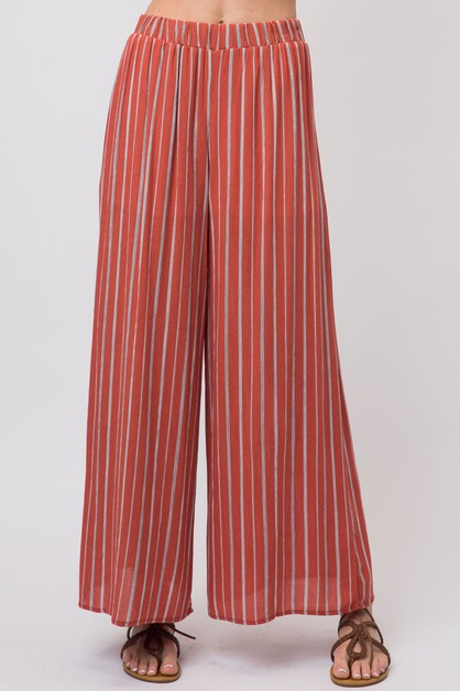 STRIPED WIDE LEG PALAZZO PANTS - orangeshine.com