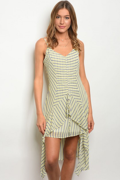 V-neck striped chiffon midi dress - orangeshine.com