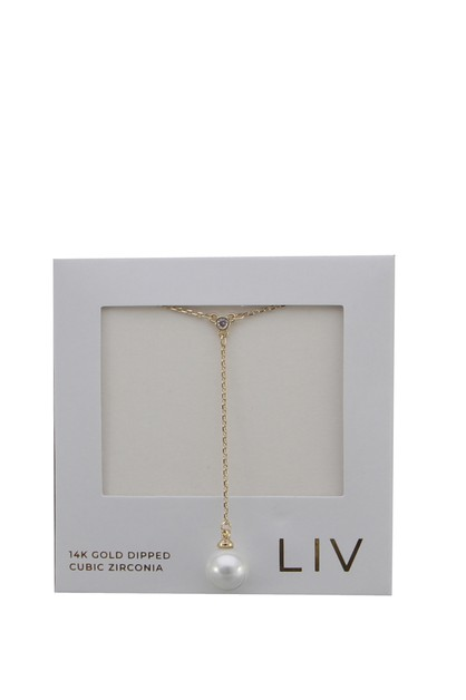 GOLD DIPPED PEARL DROP NECKLACE  - orangeshine.com