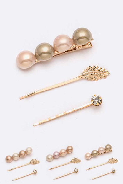 Metal Leaf Pearl Clip Set - orangeshine.com
