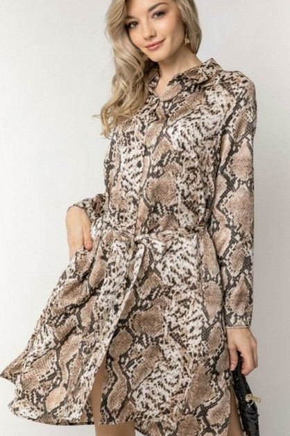 PYTHON ANIMAL PRINT SHIRT DRESS - orangeshine.com