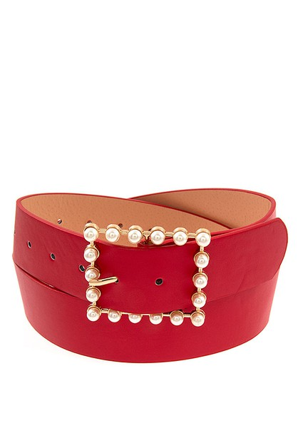 PEARL SQUARE BUCKLE FASHION BELT  - orangeshine.com