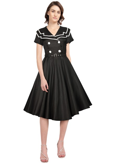 Plus Size Vintage Sailor Flared Dr - orangeshine.com