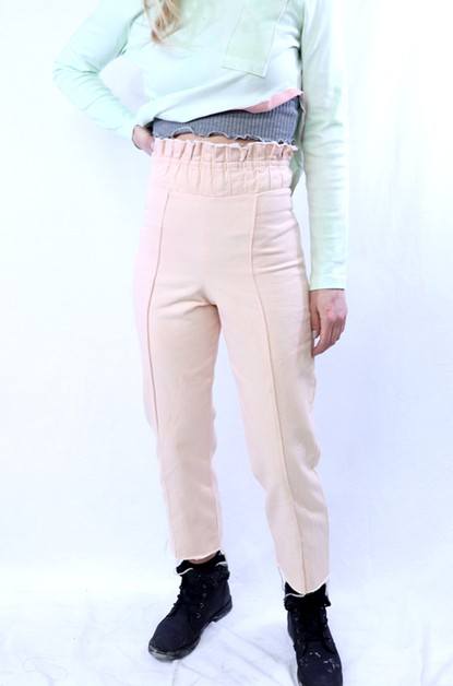 Tan Paperbag Waist Crop Denim Pant - orangeshine.com