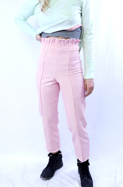 Pleated Waist Crop Denim Pant  - orangeshine.com
