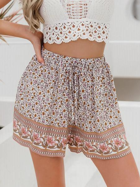 Tribal Floral Drawstring Shorts - orangeshine.com