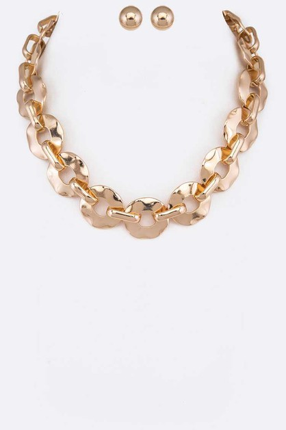 Hammered Chain Link Necklace Set - orangeshine.com