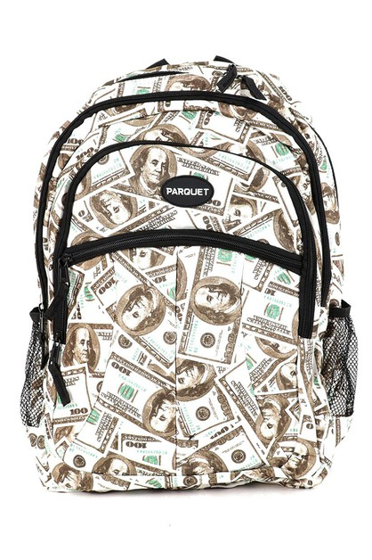 100 Bill Pattern Novelty Backpack - orangeshine.com
