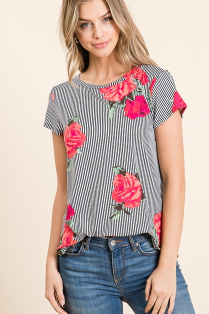 CASUAL SHORT SLEEVE FLORAL PRINT TOP - orangeshine.com