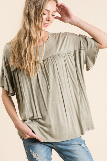 WASHED RAYON RUFFLE SHORT SLEEVE TOP - orangeshine.com