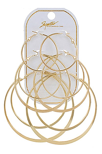 3-pair Hoop Earring Set - orangeshine.com