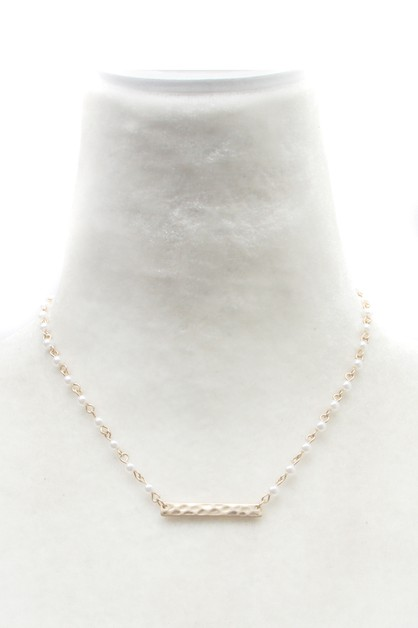 PEARL CHAIN  METAL BAR NECKLACE  - orangeshine.com