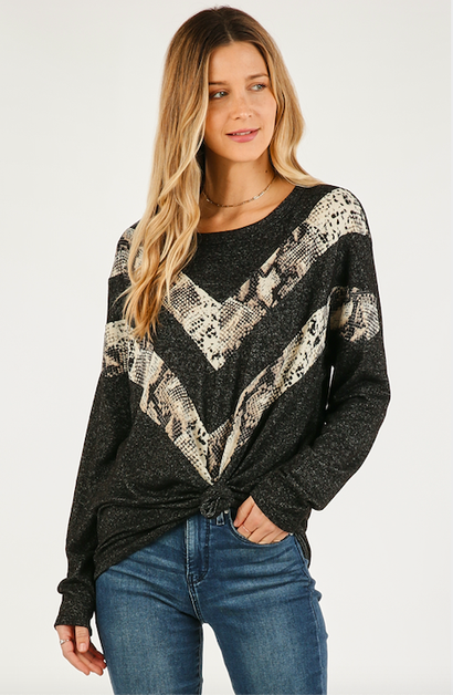 SNAKE PRINT CHEVRON TOP - orangeshine.com