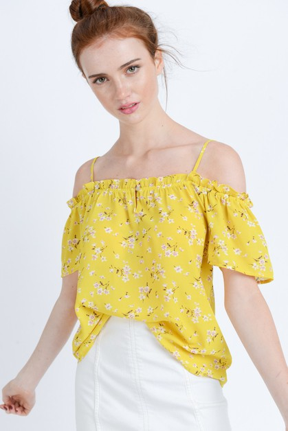 Floral Print Ruffled Top - orangeshine.com