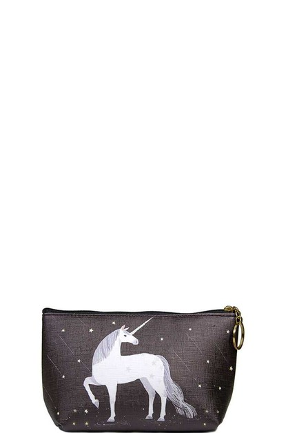 White Unicorn on Black Pouch - orangeshine.com