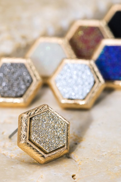 Hexagon Faux Druzy Earrings - orangeshine.com