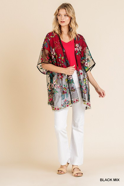 Embroidered Sheer Mesh Kimono - orangeshine.com