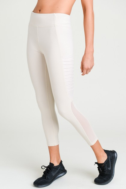 Moto Ribbed Mesh Pocket Leggings - orangeshine.com
