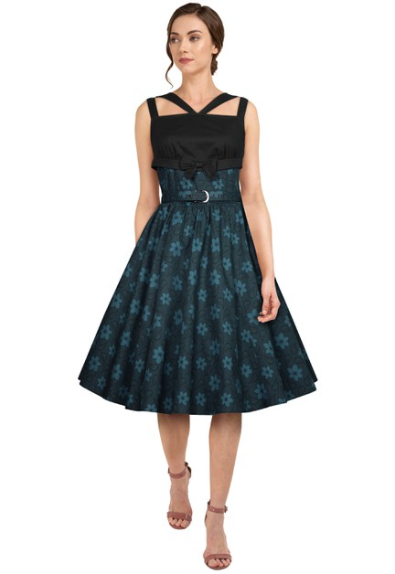 Plus Size Blue/Floral Retro Bow Dress - orangeshine.com