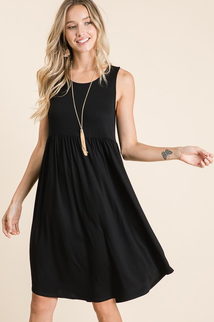 SLEEVELESS DRESS WITH SHIRRING AT WA - orangeshine.com