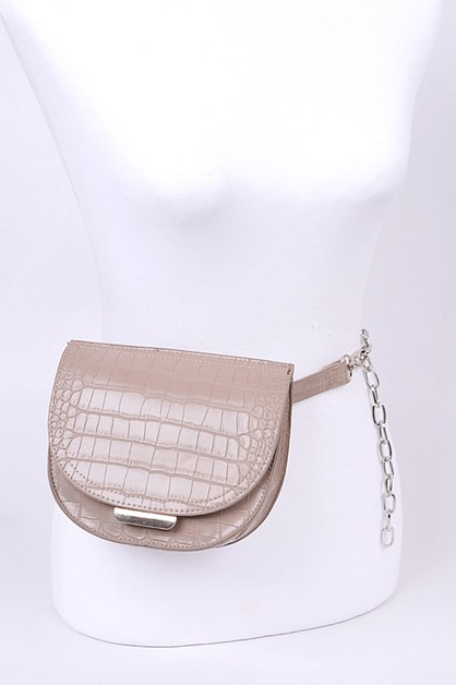 Croc Effect Chain Belt Fanny Pack - orangeshine.com