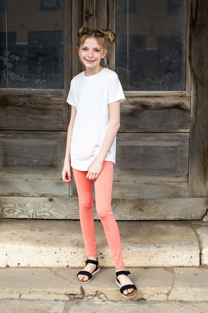 LIGHT CORAL - GIRL LEGGINGS - orangeshine.com
