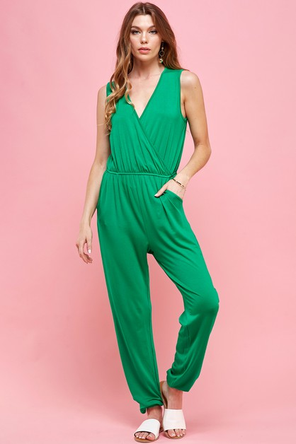 Kelly Green Sleeveless Jumpsuit - orangeshine.com