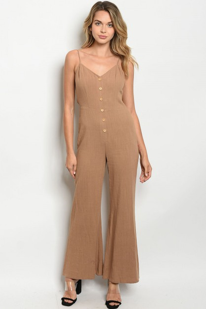 Sleeveless V-neck wide leg jumpsuit - orangeshine.com