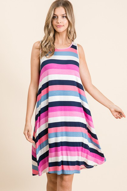 CASUAL STRIPE SLEEVELESS DRESS - orangeshine.com