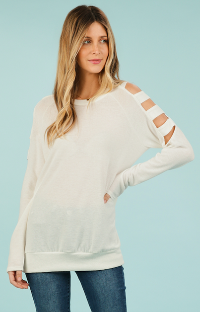Ivory Ladder Sleeve Top - orangeshine.com