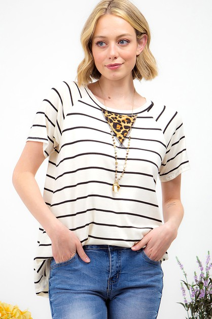 LEOPARD PRINT ACCENT STRIPED TOP - orangeshine.com