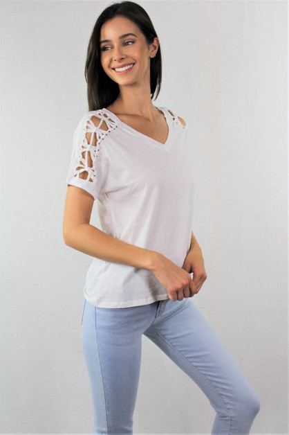 Womens V Neck Top with Criss Cross  - orangeshine.com